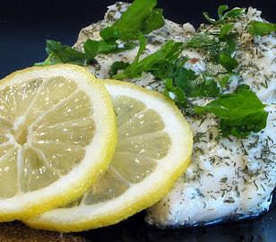 Halibut with a Lemon Dill Sauce