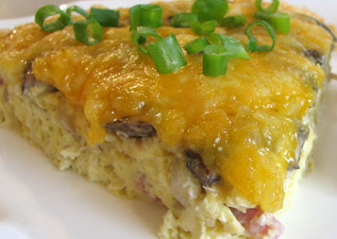 Ham, Mushroom and Cheddar Frittata