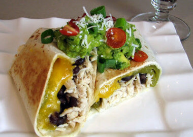 Shredded Chicken, Green Chile, Black Bean and Cheddar Cheese Chimichanga