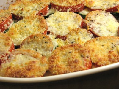 Tomato, Zucchini, Squash and Caramelized Onion Gratin