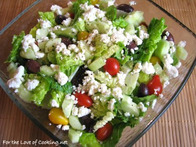 Greek Salad with a Lemon Garlic Dressing