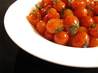 Roasted Grape Tomatoes with Fresh Basil and Balsamic Vinegar