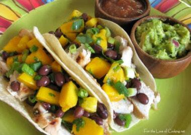 Cilantro Lime Chicken Tacos with a Mango and Black Bean Salsa