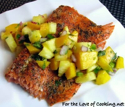 Grilled Blackened Salmon with Pineapple Mango Salsa