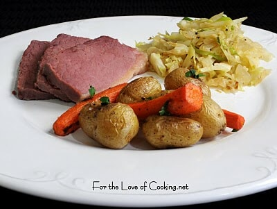 Boiled Corned Beef, Sautéed Cabbage & Onions, and Roasted Carrots & Potatoes