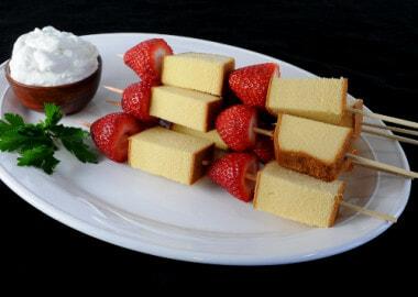 Strawberry Shortcake Kebabs with Vanilla Bean Whipped Cream