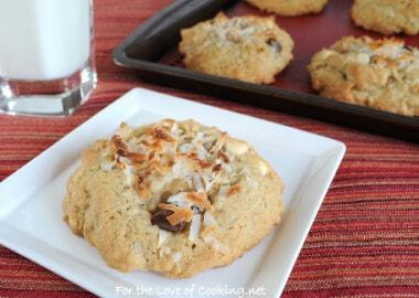 Coconut, White Chocolate, and Chocolate Chunk Cookies