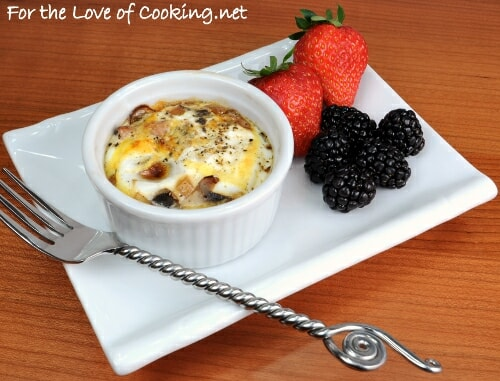 Baked Egg with Ham, Caramelized Onions & Mushrooms, and Sharp Cheddar