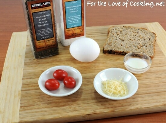 Parmesan and Tomato Baked Egg with Toast Soldiers