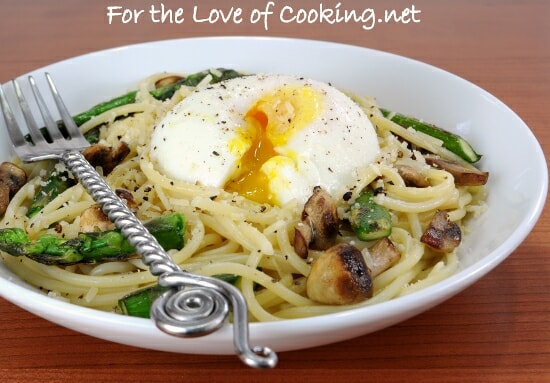 Spaghetti with Asparagus, Mushrooms, Parmesan, and a Poached Egg