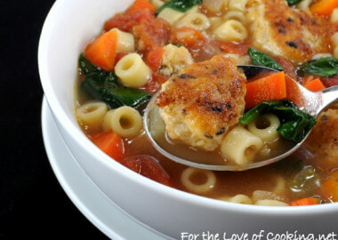 Mini Chicken Meatball, Pasta, and Vegetable Soup