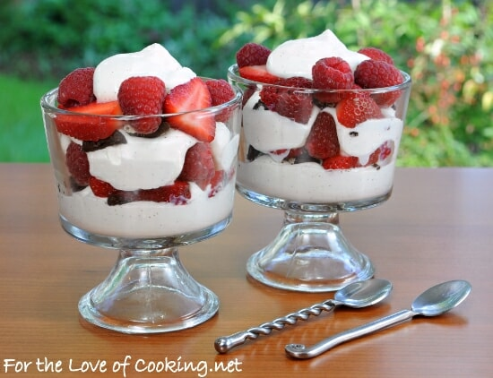 Berry Parfait with Homemade Vanilla Bean Whipped Cream and Crushed Oreo Cookies