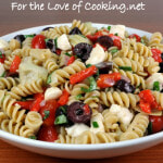 Pasta Salad with Roasted Bell Pepper, Mozzarella, Artichoke Hearts, Kalamata Olives, and Basil