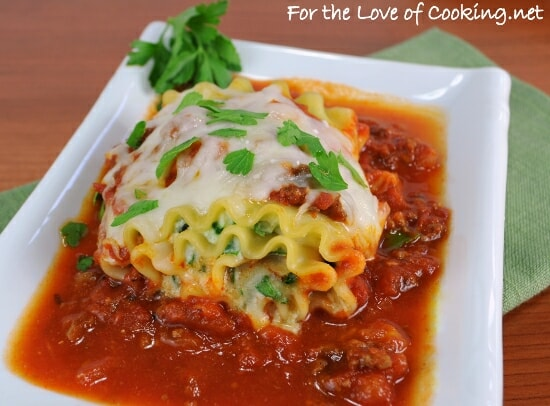 Spinach Lasagna Roll Ups with a Slow Simmered Meat Sauce