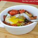 Baked Egg with Potatoes, Bacon, and Roasted Tomatoes & Asparagus