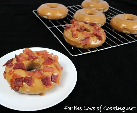 Baked Donuts with Maple Frosting and Bacon Crumbles
