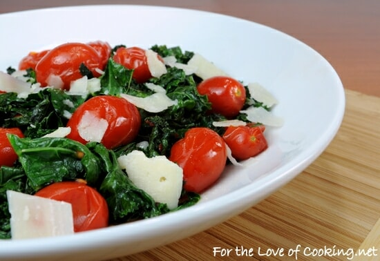 Sautéed Kale with Grape Tomatoes, Garlic, and Parmesan