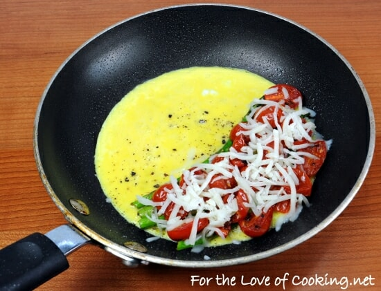 Omelet with Asparagus, Grape Tomatoes, and Mozzarella