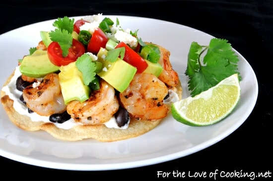 Shrimp, Black Bean, and Avocado Tostada