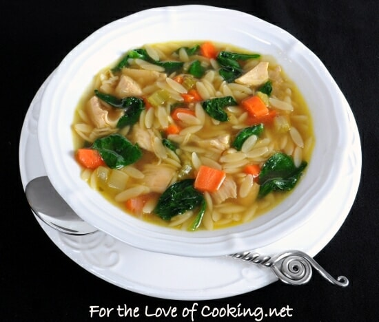 Turkey and Orzo Soup with Spinach