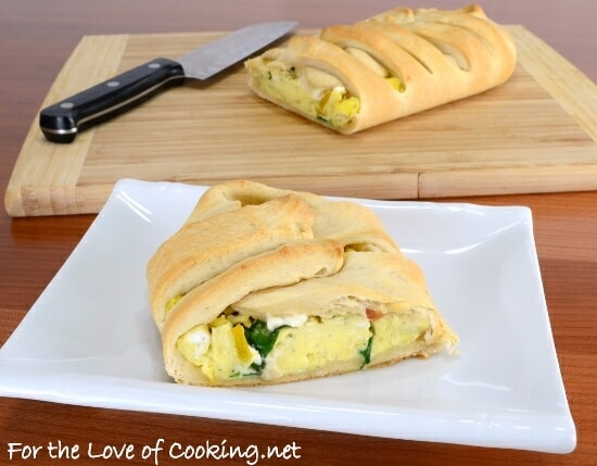 Breakfast Braid with Eggs, Roasted Pepper, Spinach, and Feta