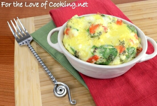 Mini Baked Frittata with Feta, Spinach, Roasted Red Pepper, and Dill