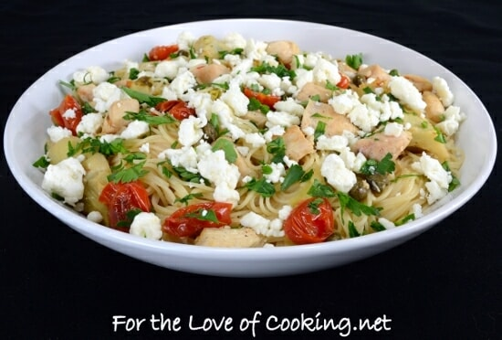 Angel Hair Pasta with Chicken, Artichoke Hearts, Tomatoes, Capers, Feta, and Lemon