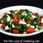 Spinach Sauté with Grape Tomatoes, Feta Cheese, and Toasted Pine Nuts