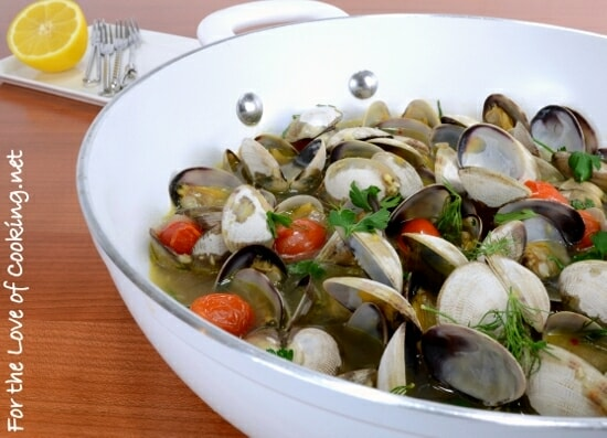 Steamer Clams with Tomato, Garlic, Lemon, Dill, and Parsley