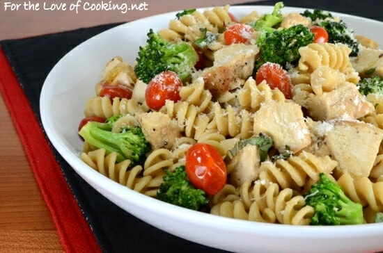 Rotini Pasta with Chicken, Broccoli, Tomatoes, Parmesan, and Fresh Basil