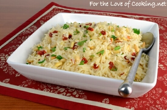 Garlic Rice with Sautéed Onions, Sun-Dried Tomatoes, and Toasted Pine Nuts