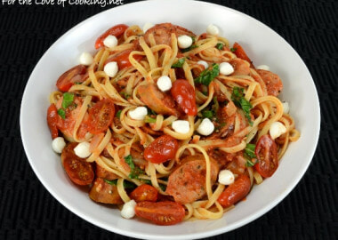 Linguine In Tomato Sauce with Chicken Sausage, Blistered Tomatoes, Kale, and Mozzarella Pearls