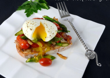 Soft Boiled Egg over Vegetable Sauté and Toast