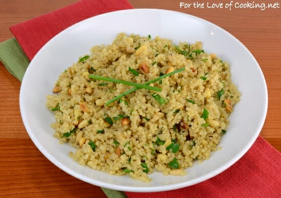 Garlicky Quinoa with Toasted Pine Nuts, Chives, and Parsley