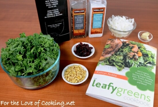 Sautéed Garlicky Kale with Onions, Pine Nuts, and Craisins