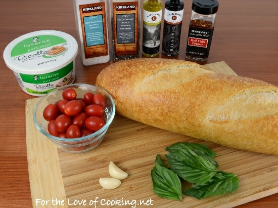 Blistered Tomato and Ricotta Bruschetta with Fresh Basil