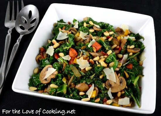 Warm Balsamic Kale, Mushroom, and Pepper Salad with Toasted Pine Nuts