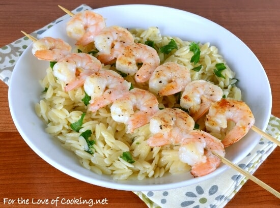 Shrimp Skewers with Garlicky Parmesan Orzo