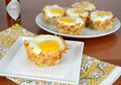 Hash Brown Nests with Egg, Ham, and Sharp Cheddar