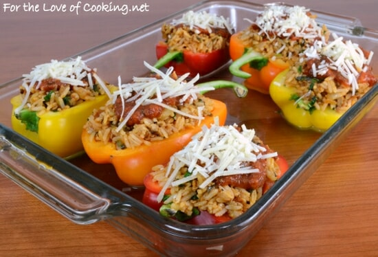 Stuffed Bell Peppers with Chicken Italian Sausage, Rice, and Spinach