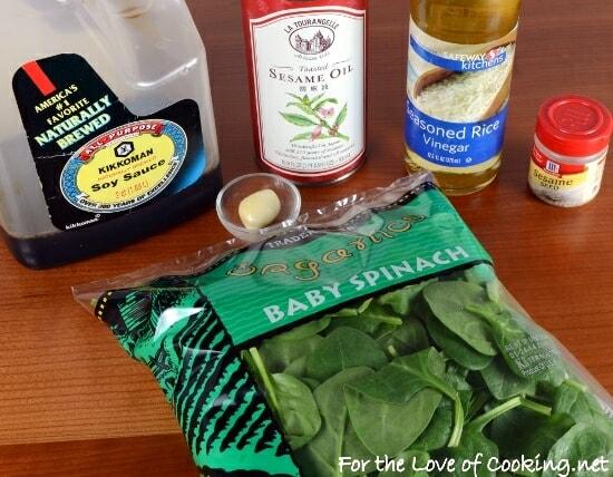 Sesame Garlic Wilted Spinach