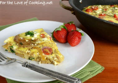 Baked Spanish Tortilla with Potato, Bell Pepper, Onion, Kale, Tomato, and Feta