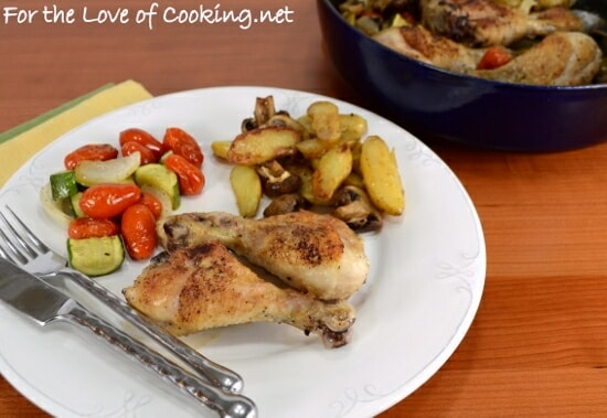 One Pot Meal ~ Roasted Drumsticks with Fingerling Potatoes, Mushrooms, Tomatoes, and Zucchini
