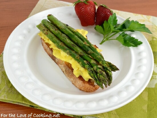 Scrambled Eggs and Roasted Asparagus on Toasted Sourdough