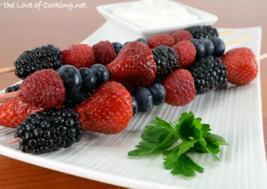 Berry Skewers with a Coconut Lime Yogurt Dip