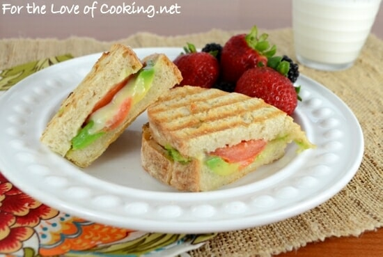 Sharp Cheddar, Avocado, and Tomato Panini