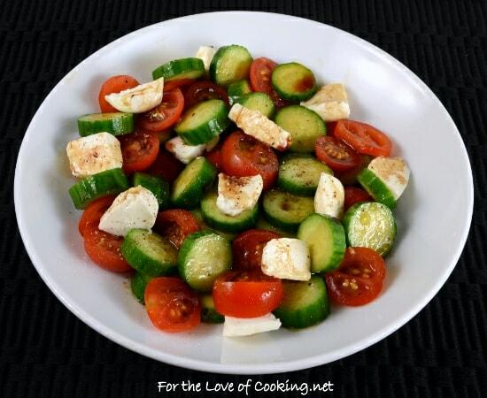 Cucumber, Tomato, Mozzarella Salad with Balsamic