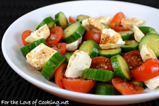 Cucumber, Tomato, Mozzarella Salad with Balsamic