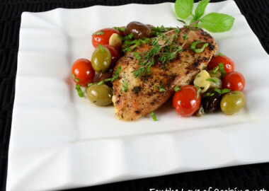 Baked Mediterranean Chicken Breasts with Tomatoes, Olives, Capers, and Garlic