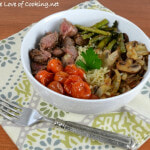 Rice Bowl with Steak, Roasted Tomatoes & Asparagus, and Caramelized Mushrooms & Onions